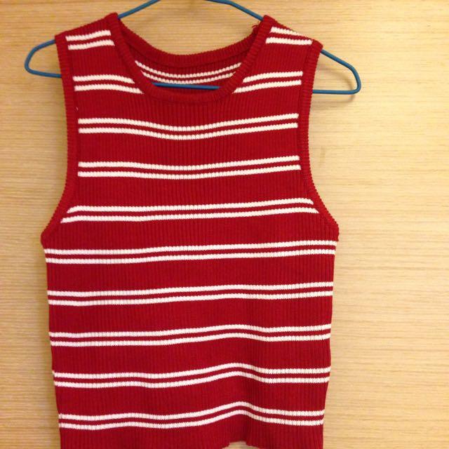 🌻針織短版紅白條紋