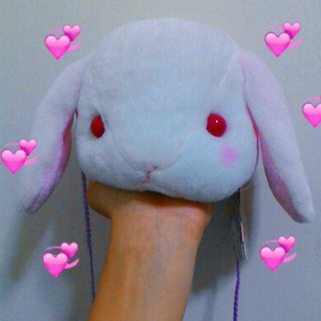 萌系垂耳兔斜背包側背小包包頸掛包