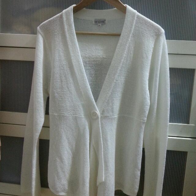 (近新品)白色針織毛衣外搭