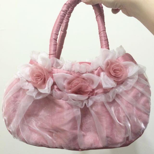 超美全新粉紅色花朵布水餃型手提包