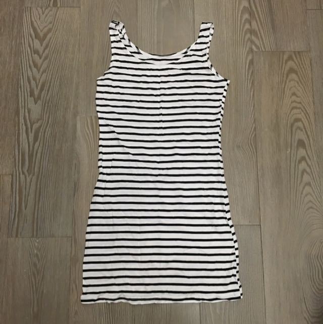 黑白橫條鬆緊長版上衣