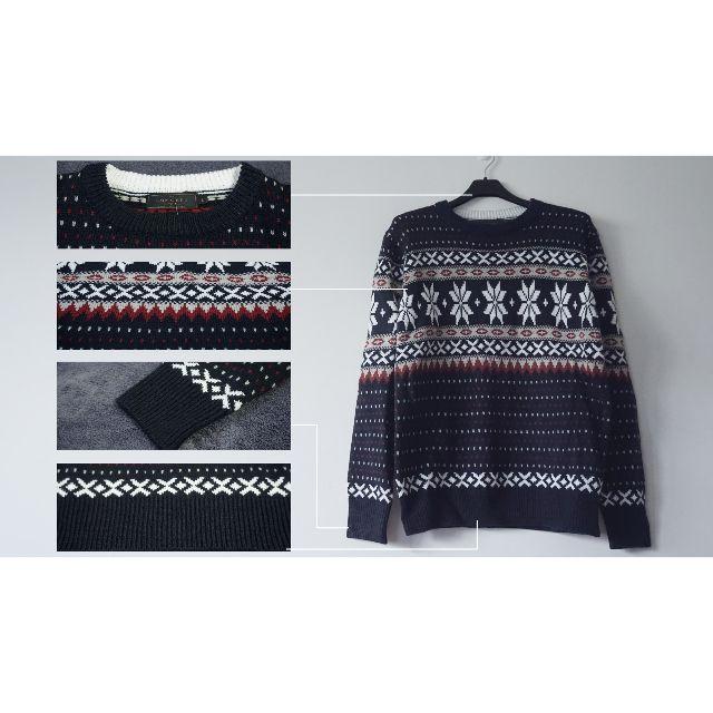 雪花織紋圓領厚毛衣
