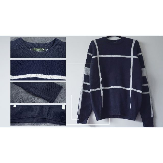 大井紋造型圓領長袖毛衣