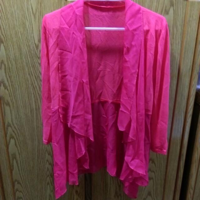 桃紅色 7分袖外罩衫