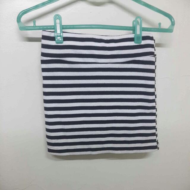 🎯黑白橫條紋棉質短裙 全新