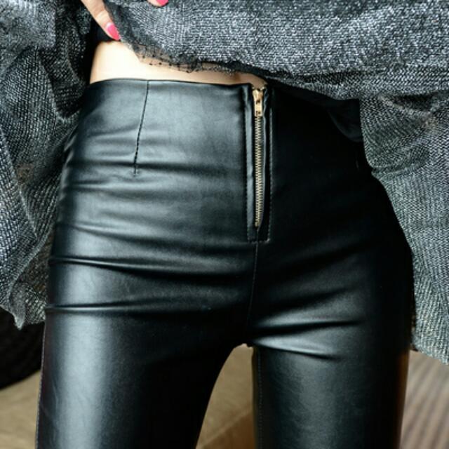 ▶含運 內刷毛率性拉鍊皮褲◀