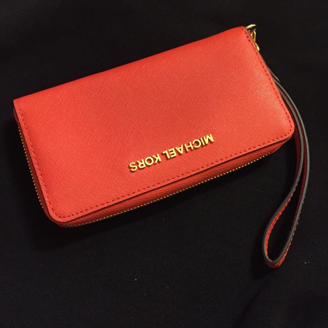 美國購入 Michael Kors 粉橘紅色 長夾 隨身包 手拿包(可放的下iPhone)