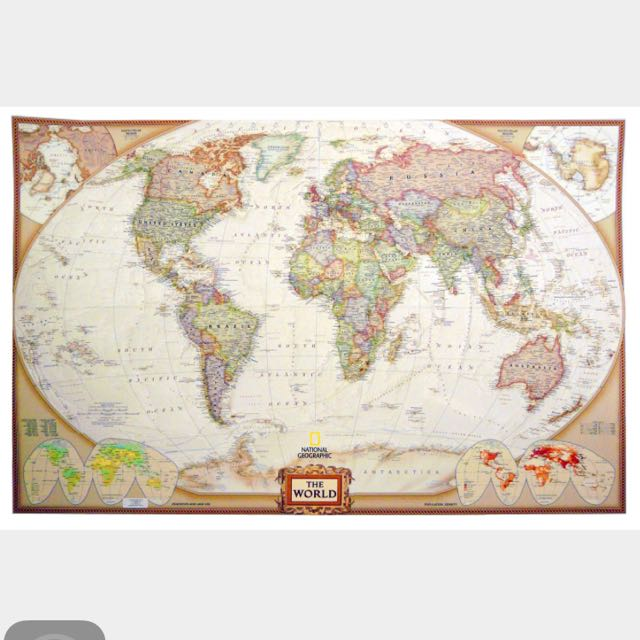 Authentic World Map.Authentic National Geographic World Map Laminated Design Craft