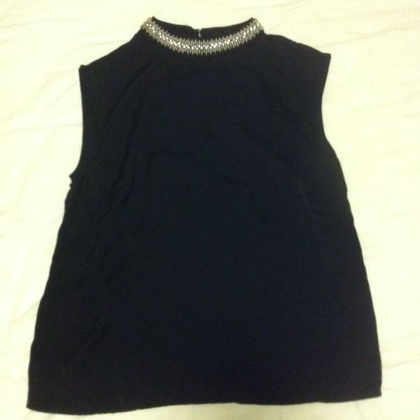 Black Top With Silver Neck Statement