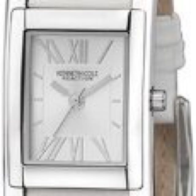 KC2402 Reaction Ladies White Leather Strap with Silver Dial Watch