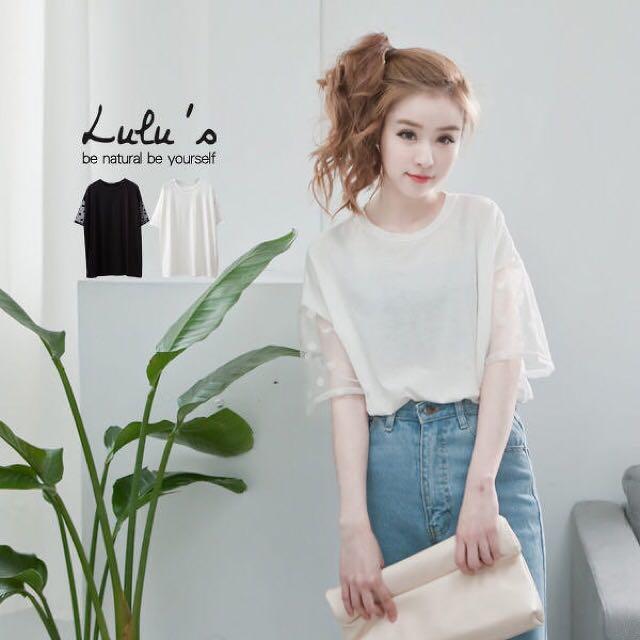 Lulus白色素面網紗圓點點袖五分短袖上衣