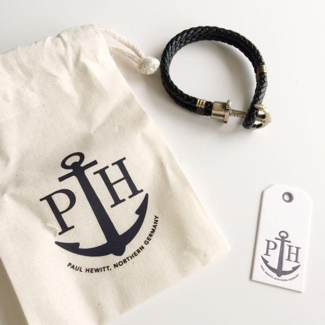 德國PH Paul Hewitt 真皮編織手環 皮革 黑 銅釦 女S