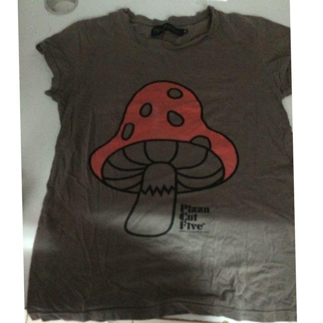 PIZZA CUT FIVE 蘑菇 正版 T恤