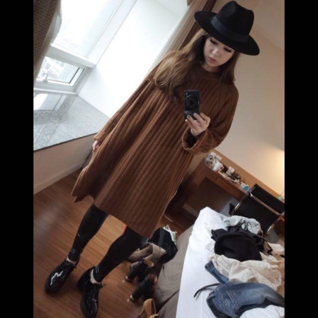 Samantha in Seoul 咖啡色直條羅紋針織洋裝