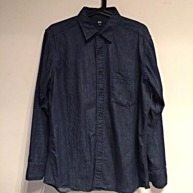 UNIQLO 深藍牛仔丹寧襯衫  L號  9成新
