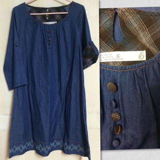 Young日系深藍色單寧風輕薄民俗風刺繡洋裝