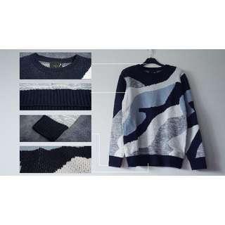 大塊拼接迷彩針織毛衣