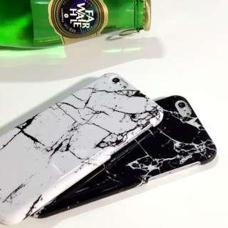側邊延續圖案 文藝清晰大理石硬殼 Iphone5/5s/6/6 plus 白色/黑色