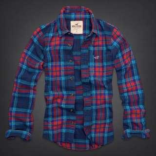 Hollister男生格紋襯衫