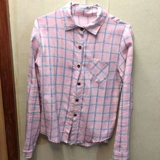 粉色格紋襯衫