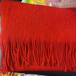含運)大紅色流蘇圍巾