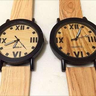 Wood Base Couple Watch