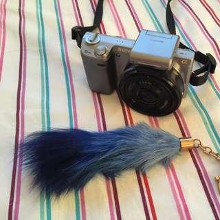Gradient Navy 100% Genuine Fox Fur Keyring