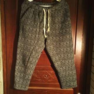 魚骨紋超厚抽繩棉質九分褲