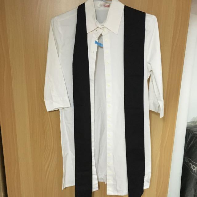 2手。GALOOP 七分袖長版白色襯衫 L。黑色那條是設計來綁做造型的 可繫腰上 當領巾