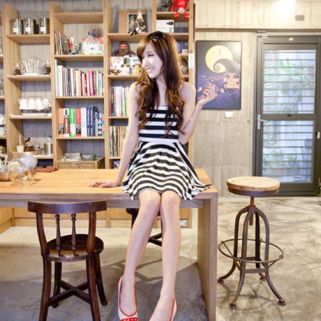 平口黑白條紋小洋裝