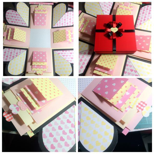 手工禮物盒卡片(粉黃配)