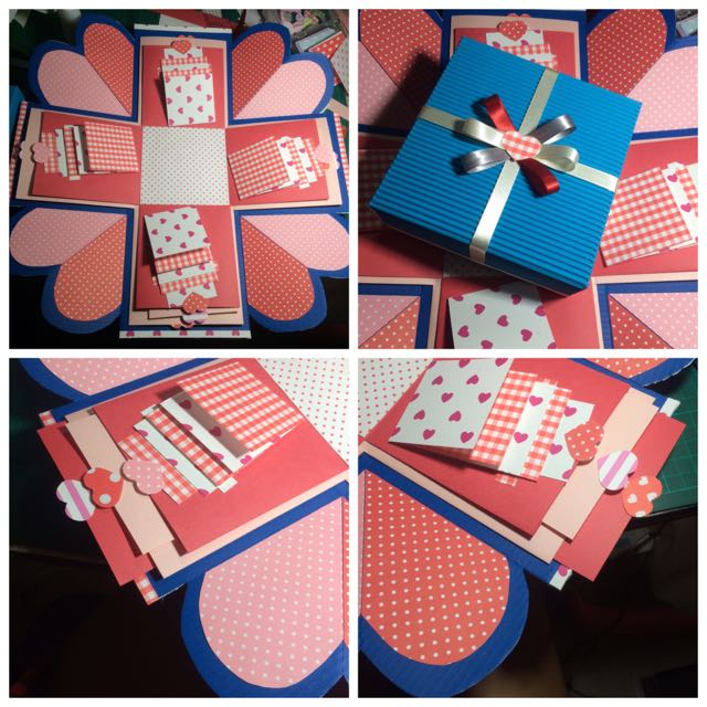 手工禮物盒卡片(外盒深淺藍內層深淺粉)