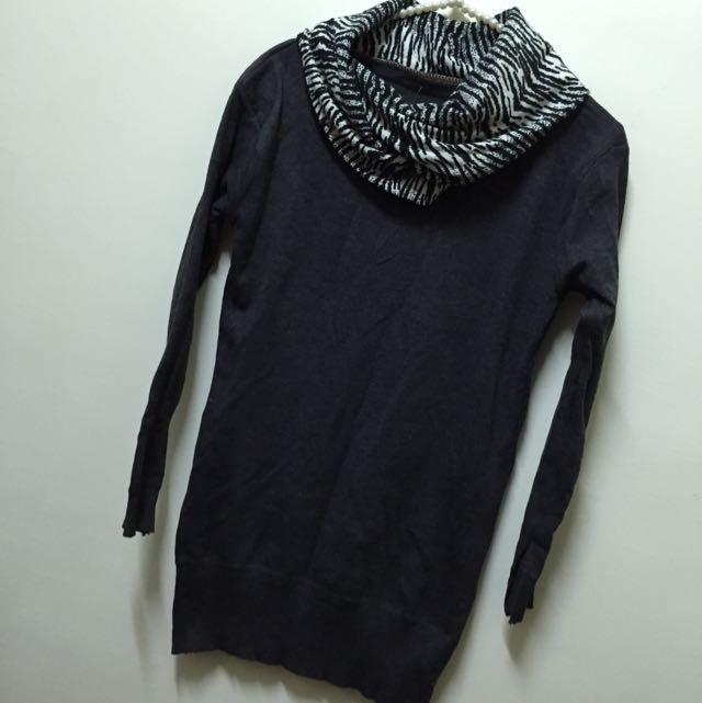 🌺全新冬裝出清賠售🌺斑馬紋造型長版厚針織衫