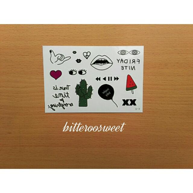 手繪彩色刺青貼紙/紋身貼紙