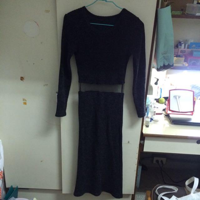 針織露腰長裙
