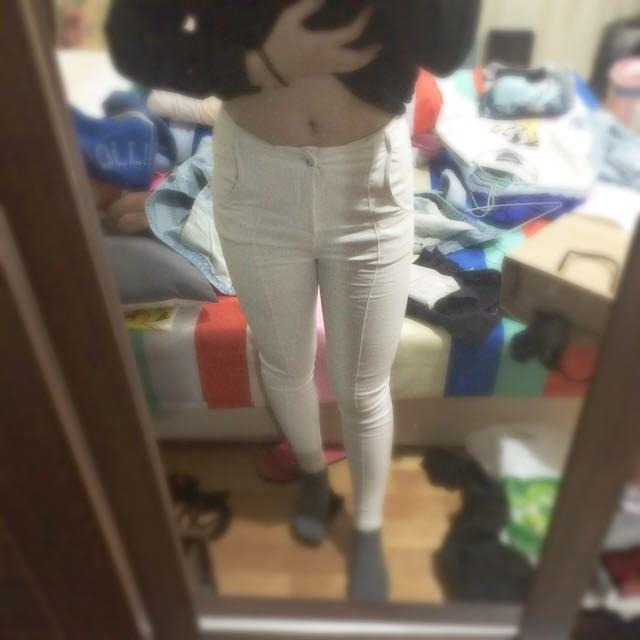 降🎉全新超厚 刷毛白褲