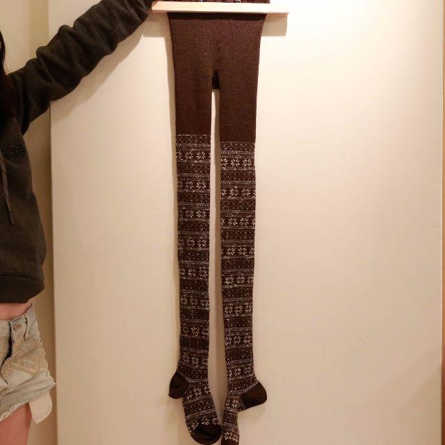 無印良品 冬天 超厚 保暖 長襪 雪花咖啡 九成新
