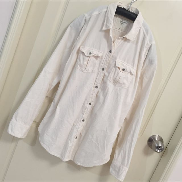 AF Abercrombie & Fitch 粉米黃色 絨布材質襯衫 S號