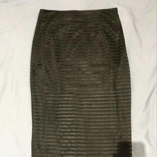 Black Midi Skirt With Sheer Panels