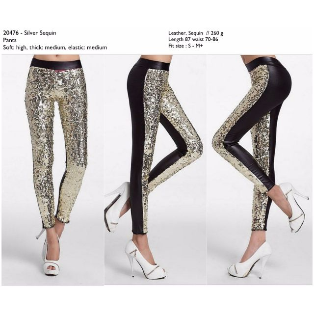Celana Legging Gliter Kulit Murah Import Silver Cina Korea Style Fesyen Wanita Pakaian Wanita Bawahan Di Carousell