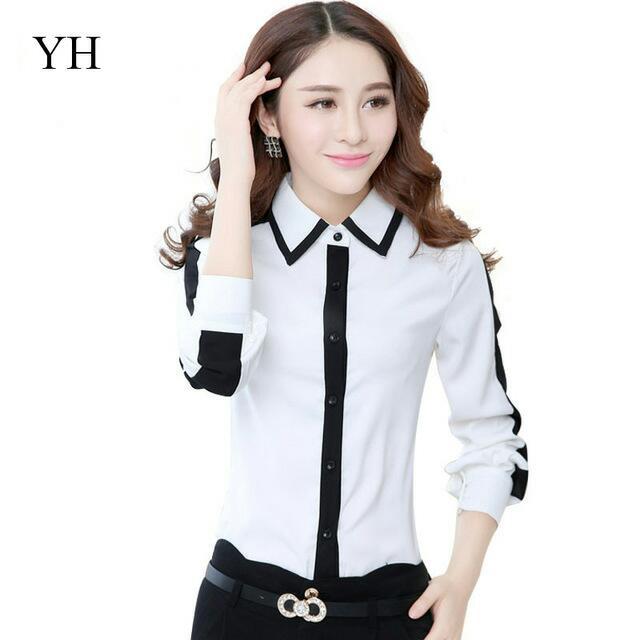 99bc796dd2f Korean Office Work Wear Fashion Ladies Office Shirts Long Sleeve ...