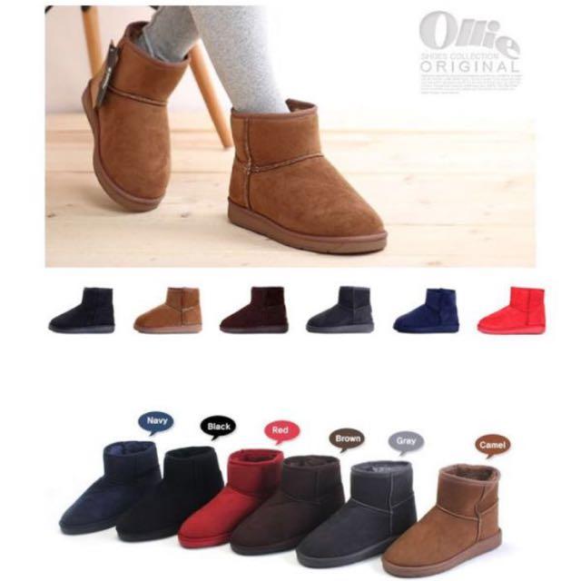 降‼️韓國Ollie布標 基本款短筒雪靴*39駝