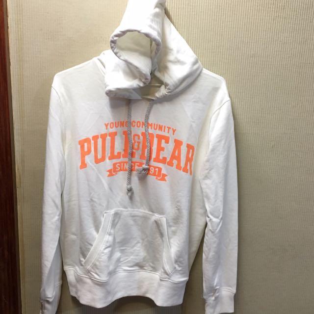 pull&bear 白橘色 帽梯
