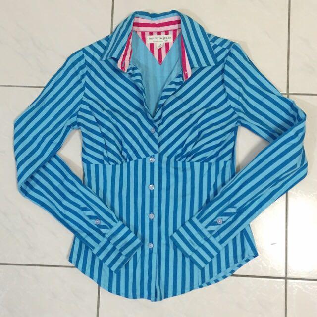 Tommy Jeans 藍色條紋 設計款 V領 襯衫