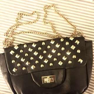 (香港購入)黑色窩釘小包包