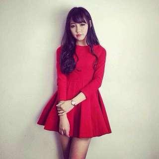 初冬流行✨韓系甜美淑女修身顯瘦褶皺A字裙洋裝