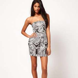 ASOS Petite Exclusive Strapless Dress In Aztec Print
