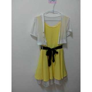 黃色小洋裝(含黑色腰帶)
