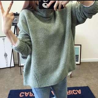正韓 高領寬鬆毛衣