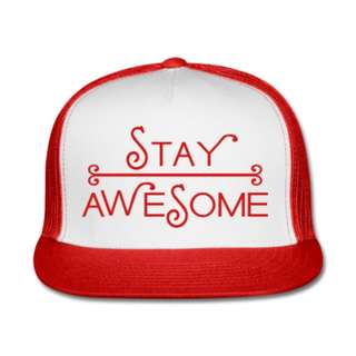 RICKS CAP / HAT / TOPI TRUCKER CUSTOME STAY AWESOME 0.4 / RED